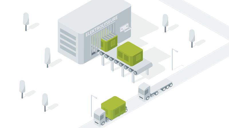 Das Bild ist eine Zeichnung. Sie zeigt Elektrolyseure auf einem Fließband in einer Fabrik.
