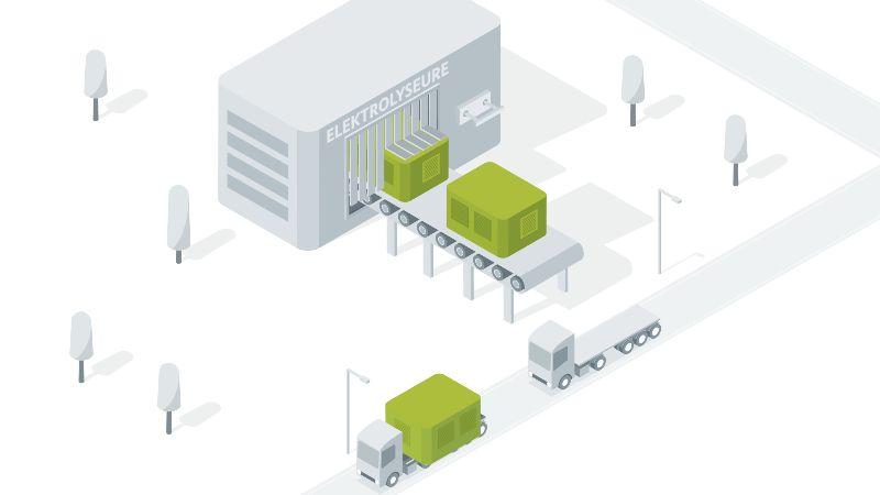 Das Bild zeigt die industrielle Herstellung von Elektrolyseuren.