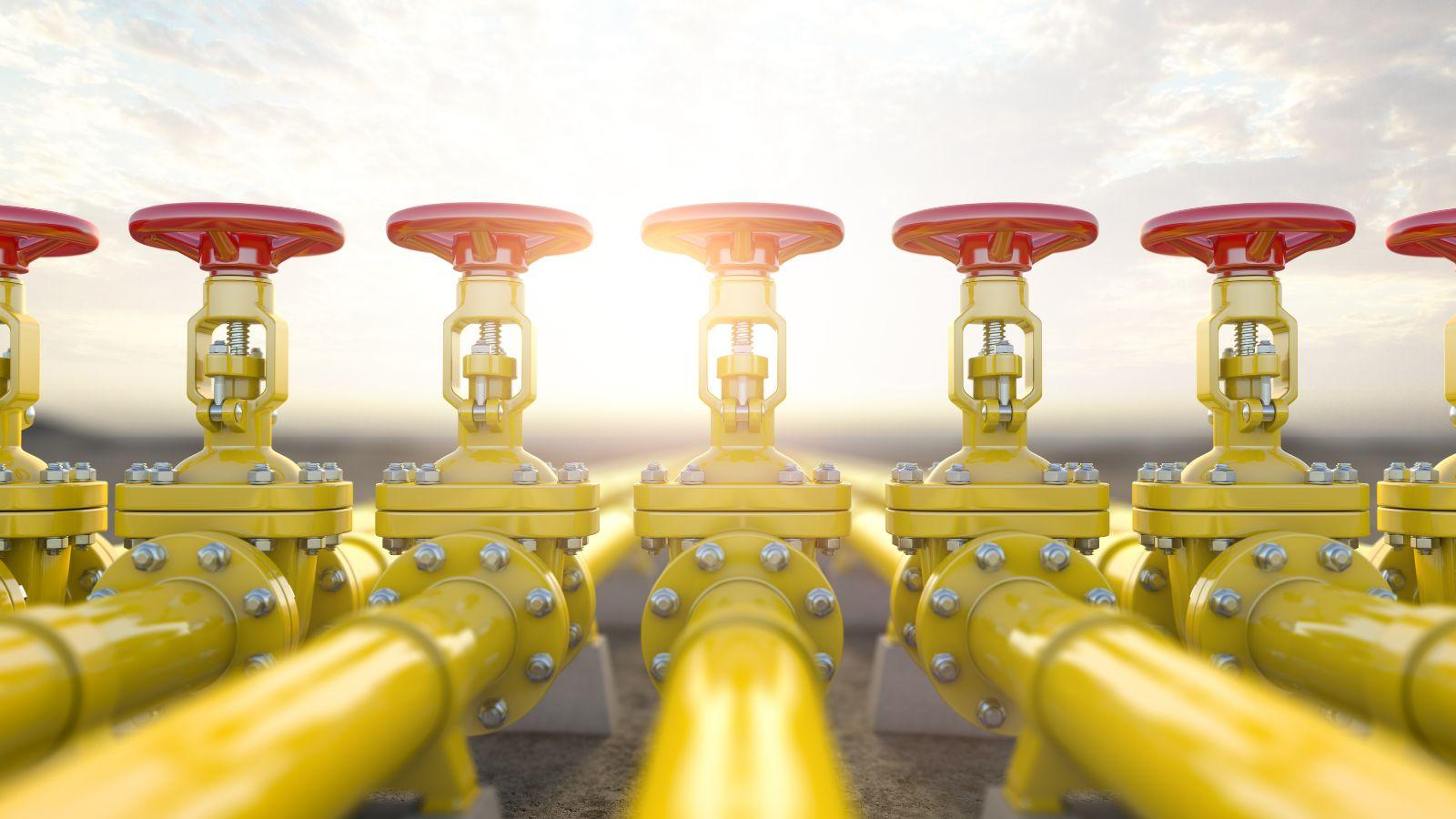 Das Bild zeigt gelbe Wasserstoffleitungen mit roten Drehverschlüssen.